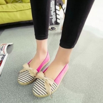 Fashion Round Toe Contrast Color Striped Canvas Shoes