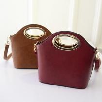 Fashion Zippered Metallic Oval Handle Crossbody Bag