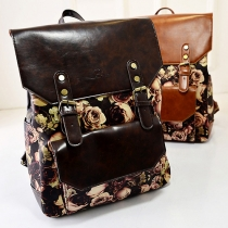 Fashion Rose Print Double Buckled Pouch Backpack