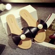 Fashion Flat Heel Pearl Bowknot Sandals Slippers