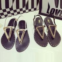 Roman Style Flat Heel Belt Buckle Thong Sandals