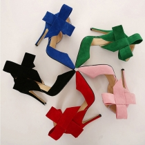Sweet Bowknot Pointed Toe Solid Color Stiletto Shoes