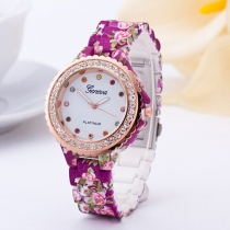 Fashion Floral Print Watch Band Rhinestone Round Dial Quartz Watches