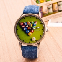 Fashion Denim Watch Band Bowling Dial Quartz Watches