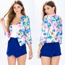 Fashion Floral Print 3/4 Sleeve Slim Fit Blazer