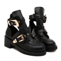 British Style Thick Heel Round Toe Martin Booties