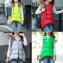 Fashion Solid Color High-low Hem Hooded Vest