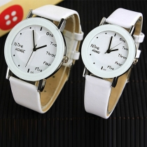 Fashion Popular PU Leather Couple Watches