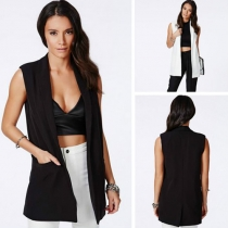 Fashion Solid Color Sleeveless Turn-down Collar Vest
