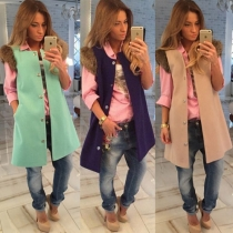 Fashion Solid Color Sleeveless Coat Vest