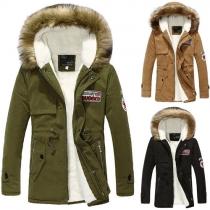 Fashion Long Sleeve Hooded Couple Padded Coat