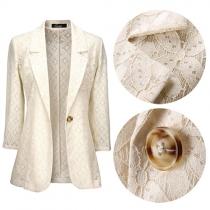 OL Style 3/4 Sleeve Slim Fit Lace Blazer