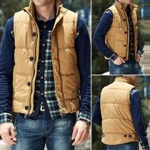 Fashion Solid Color Stand Collar Men's Vest
