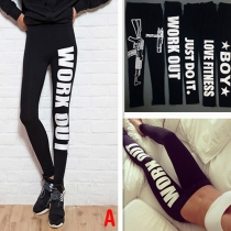 Fashion Letters Printed High Waist Stretch Leggings