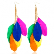 Bohemian Style Colorful Feathers Earrings