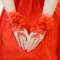 Romantic Style 3D Flowers Lace Spliced Fingerless Wedding Gloves