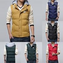 Fashion Contrast Color Front Zipper Sleeveless Hooded Men's Vest