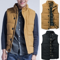 Fashion Solid Color Front Zipper Single-breasted Sleeveless Men's Vest
