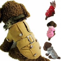 Cute Style Solid Color Single-breasted Woolen Coat For Dogs