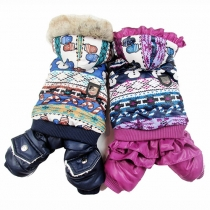 Cute Style Printed Single-breasted Hooded One-piece Couple Padded Coats For Dogs