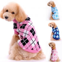 Stylish Contrast Color Turtleneck Lattice Sweater For Dogs