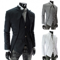 Fashion Solid Color Stand Collar Long Sleeve Single-breasted Men's Blazer