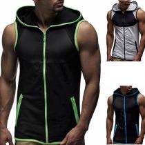 Fashion Contrast Color Sleeveless Hooded Men's Vest