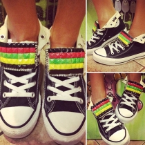 Fashion Round Toe Flat Heel Colorful Rivets Lace-up Canvas Shoes