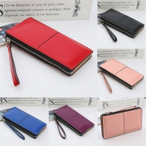 Fashion Solid Color Long Wallet with Hand Strap