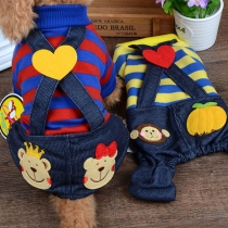 Cute Style Contrast Color Striped Spliced Overalls for Pets
