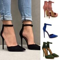 Elegant Solid Color Pointed Toe High-heel Shoes Stilettos
