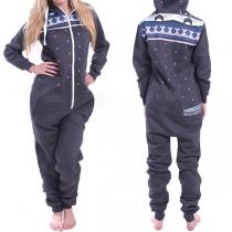 Fashion Long Sleeve Hooded Printed One-piece Pajamas Homewear