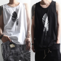 Fashion Feather Printed Men's Tank Top