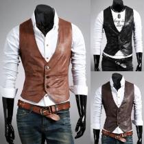 Fashion Solid Color V-neck Slim Fit Men's PU Leather Vest