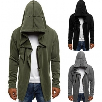 Fashion Solid Color Long Sleeve Hooded Men's Cardigan