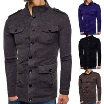 Fashion Stand Collar Button Front Flap Pocket Men's Knit Cardigan