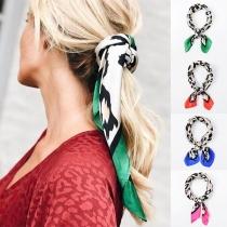 Fashion Contrast Color Leopard Print Scarf