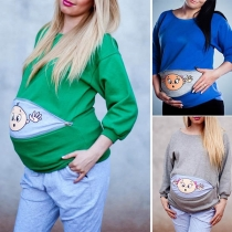 Cute Cartoon Printed Long Sleeve Round Neck Maternity Sweatshirt
