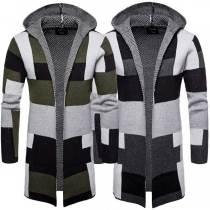 Fashion Contrast Color Long Sleeve Hooded Men's Knit Cardigan