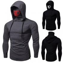 Fashion Skull Printed Spliced Mask Long Sleeve Men's Hooded Shirt