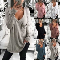 Fashion Solid Color Long Sleeve V-neck Loose Fit Shirt(It falls small)