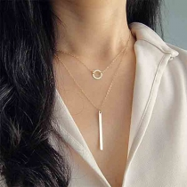 Simple Style Stick & Circle Pendant Double-layer Necklace