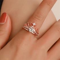 Fashion Rhinestone Inlaid Crown-shaped Open Ring