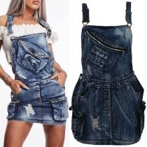 Fashion Front-pocket Denim Overalls Suspender Skirt
