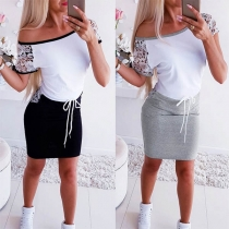 Fashion Short Sleeve Round Neck Lace Spliced Slim Fit Dress