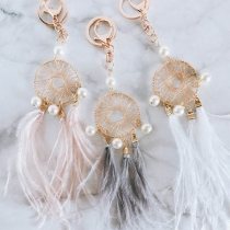 Fashion Feather Pendant Dreamcatcher Shaped Key Chain
