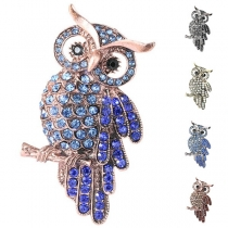 Cute Style Rhinestone Owl Shaped Brooch