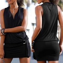 Sexy V-neck Sleeveless Solid Color Slim Fit Dress