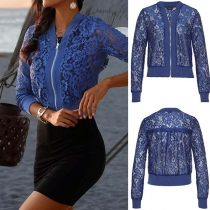 Fashion Solid Color Long Sleeve Hollow Out Lace Jacket