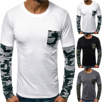 Fashion Camouflage Spliced Long Sleeve Round Neck Man's T-shirt